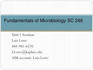 SC246: Microbiology