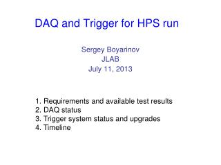 DAQ and Trigger for HPS run