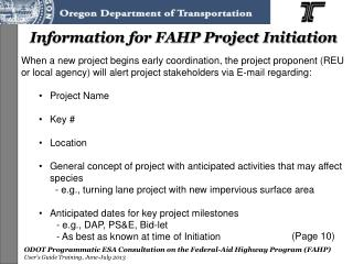 Information for FAHP Project Initiation