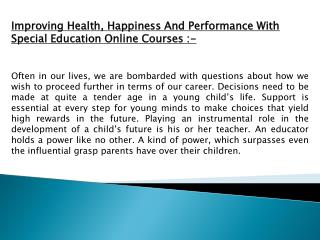 Improving Health, Happiness And Performance With Special Edu