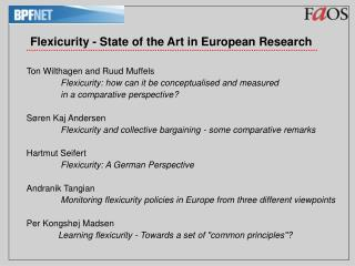 Flexicurity - State of the Art in European Research