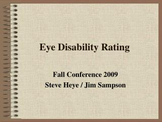 Eye Disability Rating