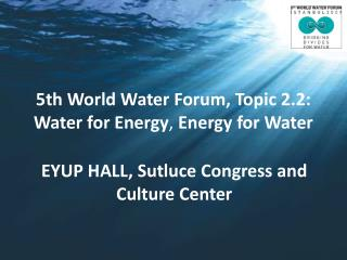 5th World Water Forum, Topic 2.2: Water for Energy ,  Energy for Water
