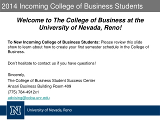 2014 Incoming College of Business Students
