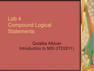 Lab 4 Compound Logical Statements