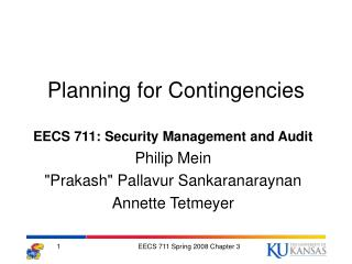 Planning for Contingencies