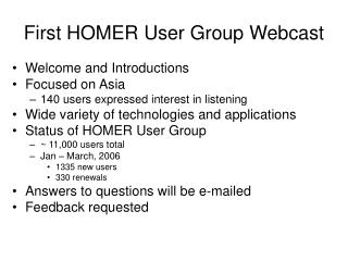 First HOMER User Group Webcast