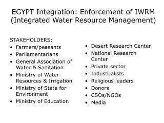 EGYPT Integration: Enforcement of IWRM (Integrated Water Resource Management)
