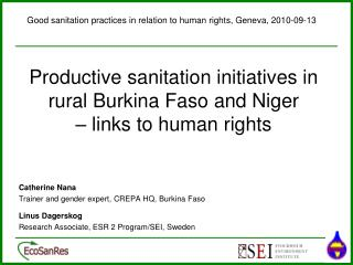 Productive sanitation initiatives in rural Burkina Faso and Niger         – links to human rights