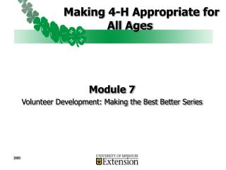 Making 4-H Appropriate for All Ages