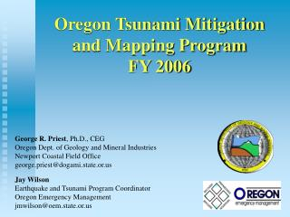 Oregon Tsunami Mitigation and Mapping Program  FY 2006