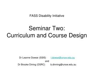 FASS Disability Initiative Seminar Two: Curriculum and Course Design