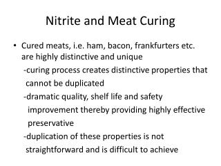 Nitrite and Meat Curing