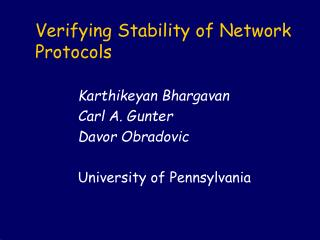 Verifying Stability of Network Protocols