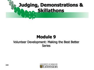 Judging, Demonstrations & Skillathons