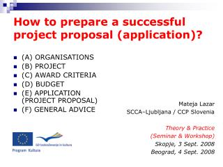 How to prepare a successful project proposal (application)?