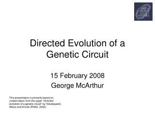 Directed Evolution of a Genetic Circuit