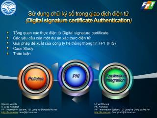 Sử dụng chữ ký số trong giao dịch điện tử ( Digital signature certificate Authentication )