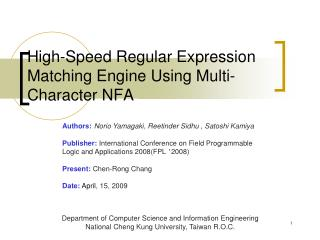 High-Speed Regular Expression Matching Engine Using Multi-Character NFA