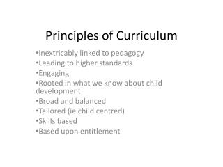 Principles of Curriculum