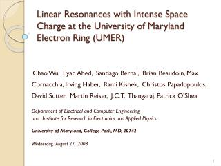 Linear Resonances with  Intense Space Charge at the University of Maryland Electron  Ring (UMER)
