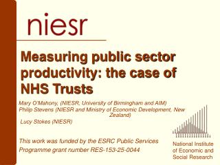 Measuring public sector productivity: the case of  NHS Trusts