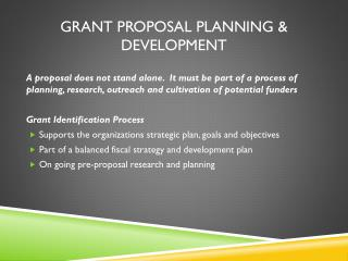 Grant Proposal Planning & Development