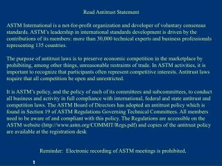 Read Antitrust Statement