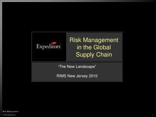Risk Management in the Global Supply Chain