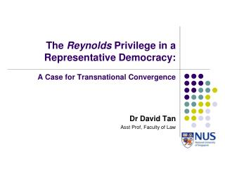 The  Reynolds  Privilege in a Representative Democracy: A Case for Transnational Convergence