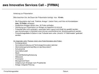 aws Innovative Services Call – [FIRMA]