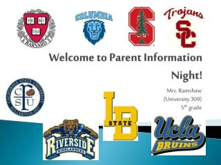 Welcome to Parent Information Night!