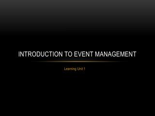 Introduction to event management