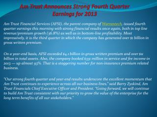AmTrust Announces Strong Fourth Quarter Earnings for 2013