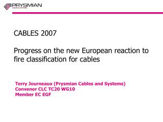 CABLES 2007 Progress on the new European reaction to fire classification for cables