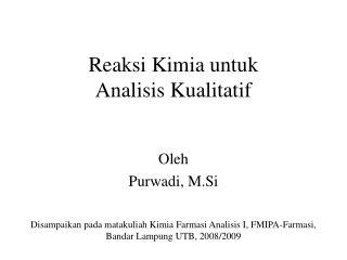 Reaksi Kimia untuk Analisis Kualitatif