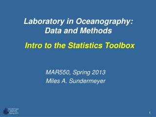 Laboratory in Oceanography:  Data and Methods