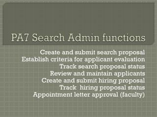 PA7 Search Admin functions