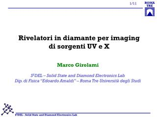 Rivelatori in diamante per imaging di sorgenti UV e X