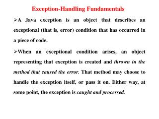 Exception-Handling Fundamentals