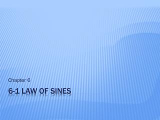 6-1 law of sines