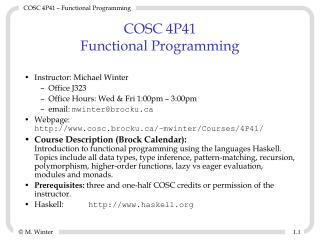 COSC 4P41 Functional Programming