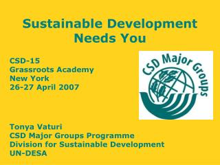 Sustainable Development Needs You