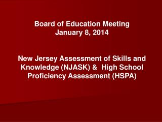 Board of Education Meeting January 8, 2014