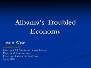 Albania's Troubled Economy