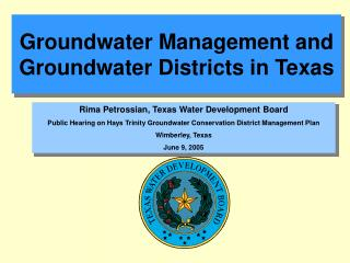 Groundwater Management and Groundwater Districts in Texas