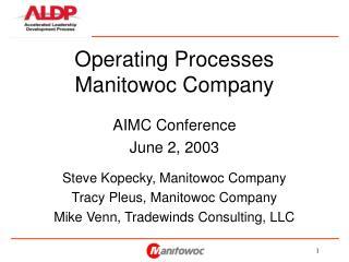 Operating Processes Manitowoc Company