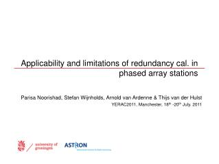 Applicability and limitations of redundancy cal. in phased array stations