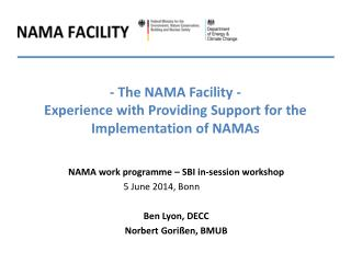 - The NAMA Facility  - Experience  with  Providing  Support  for the  Implementation  of  NAMAs