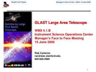 GLAST Large Area Telescope WBS 4.1.B Instrument Science Operations Center